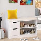 Millwood Pines Shoe Storage Bench w/ 2-Storey Shelf & 2 Drawers Manufactured Wood in White, Size 19.7 H x 31.5 W x 11.8 D in | Wayfair