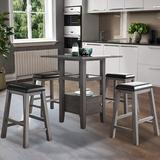 Red Barrel Studio® Wood Dinning Table, Stool Wood/Upholstered Chairs in Gray, Size 36.0 H in   Wayfair E3E032761F1448F5846359B10B6426B0