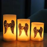 The Holiday Aisle® Flameless Candles, Angel Wings Moving Wick Led Pillars Candles, Unscented Battery Operated Candle Lights in White | Wayfair