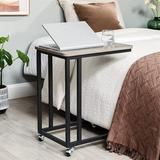 Inbox Zero End Table, Side Table, TV Tray, C Shaped Snack Table w/ Metal Frame, Rolling Casters, Industrial, For Living Room, Bedroom in Gray