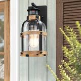 "Breakwater Bay Wood Texture 12.5"" H Seeded Glass Outdoor Wall Lantern w/ Dusk To Dawn in Black, Size 12.5 H x 7.5 W x 7.75 D in | Wayfair"