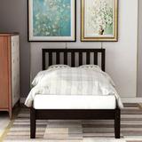 Red Barrel Studio® Twin Size Wood Platform Bed w/ Headboard Wood Slat Support Wood in Brown, Size 37.0 H x 42.28 W x 78.5 D in | Wayfair