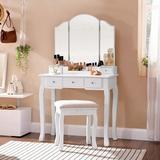 Rosdorf Park Makeup Vanity Set, Makeup Dressing Table Set w/ Tri-Folding Mirror, Makeup Table w/ 5 Drawers & 1 Removable Storage Box in White