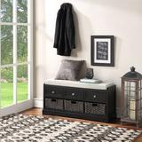 Rosalind Wheeler Shelves Storage Bench Solid + Manufactured Wood/Polyester/Polyester Blend/Wood in Black, Size 20.2 H x 44.0 W x 13.7 D in | Wayfair