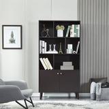 Corrigan Studio® Bookcase w/ Doors Bookshelf w/ 6 Storage Compartments For Home Office Wood in Brown, Size 67.32 H x 35.43 W x 13.98 D in | Wayfair