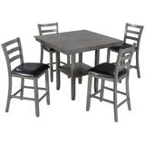 August Grove® Wooden Counter Height Dining Set Wood/Upholstered Chairs in Black/Brown/Gray   Wayfair 954BE85C86634787A90198EAD9BC6BFA