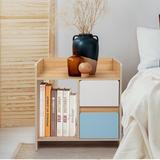 Ebern Designs Nightstand w/ 2 Drawers - Bedside Furniture & Accent End Table Chest For Home, Bedroom Accessories, Office, College Dorm Wood in Brown