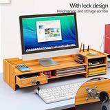 Inbox Zero Computer Monitor Stand, Office Wood Desk Organizers w/ Lock&Drawer File Storage Computer Riser Desktop Tray in Yellow   Wayfair