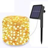 The Holiday Aisle® Solar String Lights Outdoor,Solar Lamp String, 200 LED Waterproof Solar Copper Wire Lights in White | Wayfair