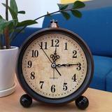 Charlton Home® Vintage Alarm Clock, Analog Silent Small Bedside Desk Clock Battery Operated For Table Living Room Decor Shelf Gift Clock Metal
