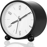 Latitude Run® Analog Alarm Clock 4 Inch Silent Small Clock w/ Night Light, Battery Operated,Digital Alarm Clock For Bedside Bedroom Desk Study Metal
