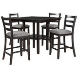 Red Barrel Studio® Wooden Counter Height Dining Set Wood/Upholstered Chairs in Brown/Gray   Wayfair 619E521ECB3E4DC3B8CCF0688A3897D3