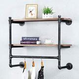 Williston Forge Industrial Pipe Clothing Rack Wall Mounted w/ Real Wood Shelf,Pipe Shelving Floating Shelves Wall Shelf   Wayfair