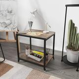 17 Stories Double Layer End Table in Black/Brown, Size 17.95 H x 17.72 W x 13.98 D in | Wayfair 9EE609EFA44340DFA2B988BAB819EC02