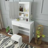 Latitude Run® Vanity Set w/ Removable Mirror & Cushioned Stool Wood in Brown/White, Size 58.46 H x 31.5 W x 14.75 D in | Wayfair