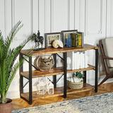 17 Stories Bookshelf Double Wide 3 Tier, Industrial Bookcases, Wood & Metal Bookshelves, Book Shelves For Home Office Decor Display, Easy Assembly