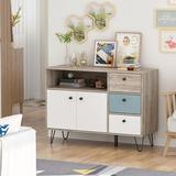 Corrigan Studio® Storage Cabinet w/ 3 Drawer 2 Doors 1 Shelves Wood in Black/Brown/Gray, Size 30.3 H x 41.9 W x 15.4 D in | Wayfair