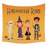 The Holiday Aisle® Tapestry For Bedroom Aesthetic Halloween Christmas Festival Wall Deco in Orange, Size 59.0 H x 51.18 W in | Wayfair