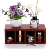 Latitude Run® Wood Desk Organizer, Pen Pencil Organizer Remote Control Holder Storage in Red, Size 3.8 H x 10.1 W x 3.9 D in | Wayfair