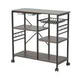 Mercer41 Kitchen Shelf Microwave Oven Rack Board w/ 6 Hooks & 4 Removable Stop Wheels, Suitable For Kitchen/Home Office/Bathroom (Brown) Wood in Gray