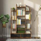 17 Stories Bookshelf w/ 2 Drawers, Free Standing Tree Bookcase Industrial Shelf Display Storage Shelf (Brown) Wood in Black   Wayfair