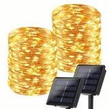 The Holiday Aisle® Solar String Lights Outdoor, 2 Pack Each 78.7Ft 240 LED Solar Fairy Lights Waterproof, Solar Silver Wire Twinkle Lights 8 Modes