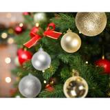 The Holiday Aisle® 100 Christmas Ball Shatterproof +100 Metal Decorative Hooks, Indoor/Outdoor Christmas Tree Ornaments, Holiday Parties | Wayfair