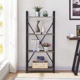 17 Stories Bookshelf 4 Tier Bookcase, Modern Narrow Book Shelf & Book Case, Industrial Wood Shelving Unit For Living Room (Dark Gray Oak) | Wayfair