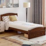 Red Barrel Studio® Platform Twin Bed Frame w/ Storage Drawer & Wood Slat Support No Box Spring Needed, White/Item Display Weight 70.99Lb Wood