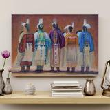 Bungalow Rose Five Native American People Art Gallery Wrapped Canvas - Native American Art Illustration Decor, Blue & Red Home Decor Canvas & Fabric