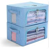 Rebrilliant Clothes Storage Bins Box - Linen Fabric Foldable Stackable Container Organizer Set w/ Clear Window & Carry Handles & Metal Frame in Blue