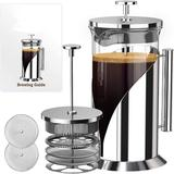 WORTHSPARK French Press Coffee Maker - Heat Resistant Borosilicate Stainless Steel Coffee Press w/ 4 Level Filter - Brew Coffee & Tea in Gray
