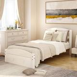 Red Barrel Studio® Platform Twin Bed Frame w/ Storage Drawer & Wood Slat Support No Box Spring Needed/Item Display Weight 70.99Lb Wood in White