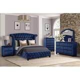 Rosdorf Park Ahull Bed 5 Piece Set Black Upholstered in Blue, Size Full | Wayfair 9456076B51DD49E69BF03F92AF4925CC