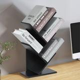 Latitude Run® 5 Tier Floor Standing Tree Bookshelf Display Storage Bookcase Magazine Rack in Black, Size 23.2 H x 12.6 W x 5.9 D in | Wayfair