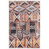 Surya Zambia Hand-Knotted Cream/Dark Brown/Black Rug Silk/Wool in Black/Brown/White, Size 108.0 H x 72.0 W x 0.01 D in | Wayfair ZAM1001-69