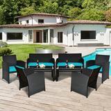 Winston Porter Baillee 6 - Person Seating Group w/ Cushions Metal/Wicker/Rattan in Blue | Wayfair EC183B0D5FB24D8095737B0A0F0F2164