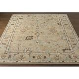 Surya Biscayne Floral Hand Knotted Wool Beige Area Rug Wool in White, Size 120.0 H x 96.0 W x 0.2 D in   Wayfair BSY2314-810