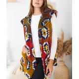 Ornella Paris Women's Outerwear Vests Mustard - Mustard Multicolor Hexagon Pocket Wool-Blend Vest - Women