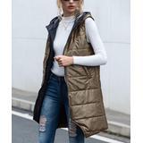 CELLABIE Women's Outerwear Vests Picture - Khaki Full-Zip Longline Puffer Vest - Women
