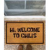 Funny Welcome Mats Door Mats Brown - Brown 'Hi Welcome to Chili's' Coir Doormat