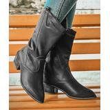 ROSY Women's Casual boots Black - Black Embroidered Pointed-Toe Cowboy Boot - Women
