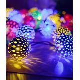 Lamei Indoor Strings Multicolor - Yellow & Blue Multicolor Moroccan Ball 20-LED Bulb String Light