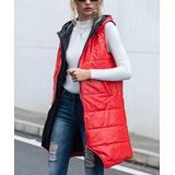 CELLABIE Women's Outerwear Vests Picture - Red Full-Zip Longline Puffer Vest - Women