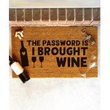 Funny Welcome Mats Door Mats Brown - Brown 'The Password Is Wine' Coir Doormat