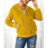 Cinnie Women's Fleece Jackets Turmeric - Turmeric Yellow Fleece Zip Hooded Jacket - Women & Plus