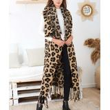 Ornella Paris Women's Non-Denim Casual Jackets Camel - Camel Leopard Fringe-Trim Wool-Blend Sleeveless Duster - Women