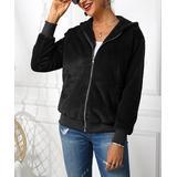Cinnie Women's Fleece Jackets Black - Black Fleece Zip Hooded Jacket - Women & Plus