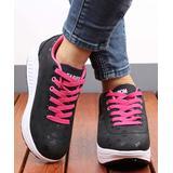 RXFSP Women's Sneakers Black - Black & Rose 'Fashion' Leather Platform Sneaker - Women