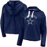 Women's Fanatics Branded Heathered Navy Dallas Cowboys Historic Logo Sport Resort Vintage Arc Cropped Raw Edge Pullover Hoodie